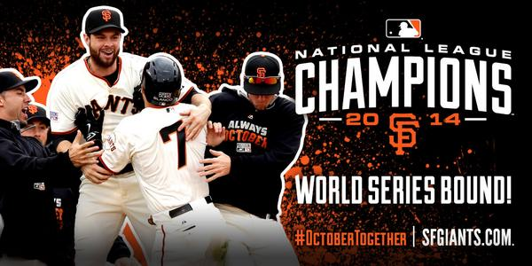 THE #SFGIANTS WIN THE PENNANT!  THE #SFGIANTS WIN THE PENNANT!   WE'RE GOING BACK TO THE WORLD SERIES!!! http://t.co/Z2YCmJikQs