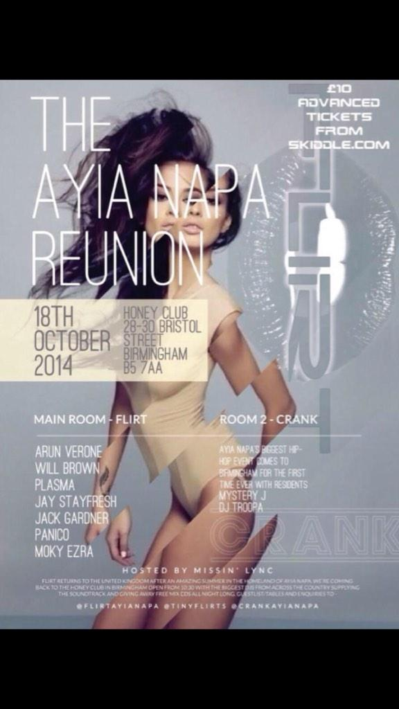 Tomorrow night it's all about @CrankAyiaNapa & @TinyFlirts reunion at Honey Club,  Birmingham! http://t.co/vLMfSrCJ7g