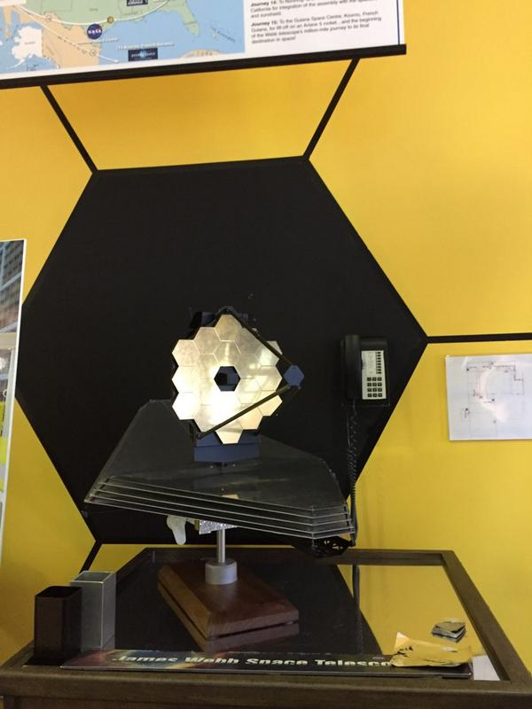 The James Webb telescope is being assembled over there! Model attached too #NASASocial #MagRecon @NASA_MMS http://t.co/zqwY3c9mxV