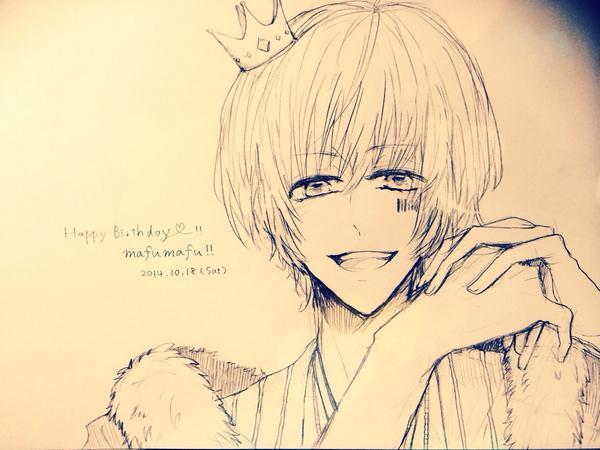 まふさん(@uni_mafumafu)、23歳のお誕生日おめでとう!!!✧*。◝(*'▿'*)◜✧*。 カラーでなくて申し訳ないですがとりあえず!大好きです!! http://t.co/k8YrbawemW