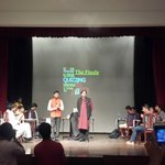 The stage at Quiz final. Close contest! A school team, DPS RKPuram, beat many colleges to enter d final. Fun aftrnoon