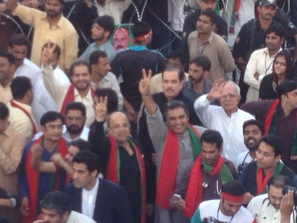 Look closely #Sargodah4PTI our Leaders @Fsnaqvi & @AliHZaidiPTI on ground amongst the crowd http://t.co/UjZQKdusFy