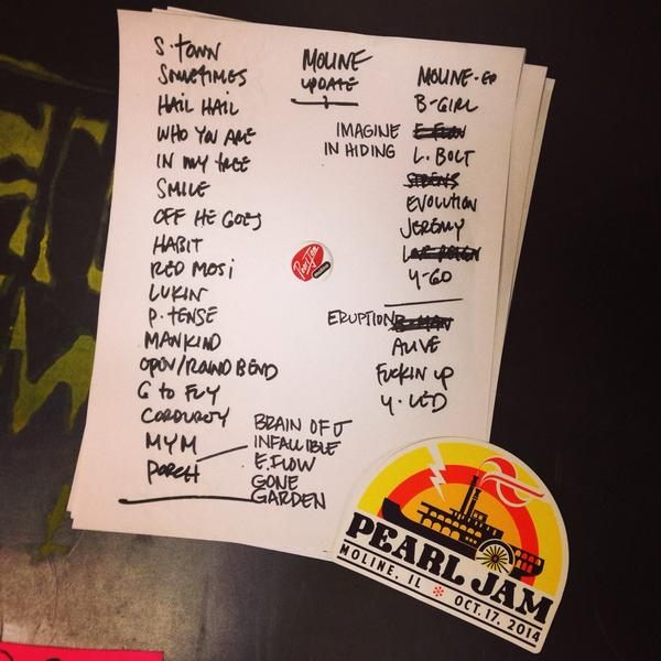 "Mankind!!! Stoney! 😍😍""@PearlJam: Official setlist for #PJMoline tonight. #PJFall2014 #NoCode @iwirelessCenter http://t.co/astYsMknYQ"""