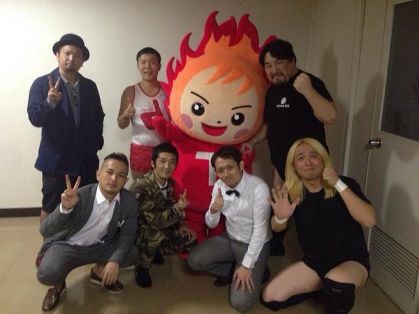 帝京大学八王子キャンパス学園祭【青舎祭】のネタ終わりました。弾丸ジャッキーとD-51さんとマスコットのてぃーぼー君と!見てくれた学生の皆、どうもありがとう!!小橋コール最高だったよ! http://t.co/0pOQSKZucd