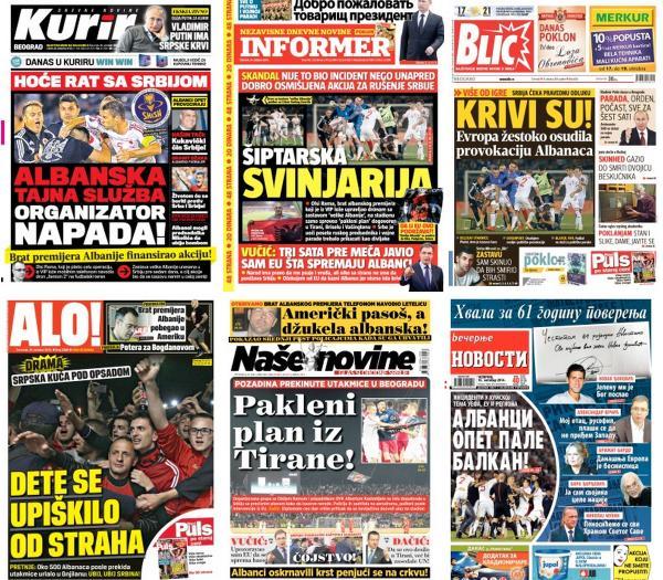 Za paljenje i demoliranje radnji Albanaca po Srbiji odgovornije su ove naslovne strane od one leteće zastave: http://t.co/LPMmkSs0sg