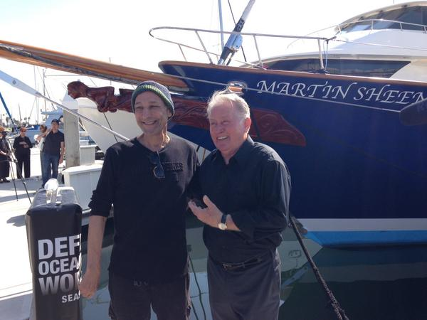 Me and Martin sheen at the christianing of his @Seashepherd ship, the Martin sheen! http://t.co/0ZRyaukhtg