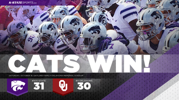 CATS WIN! No. 14 #KStateFB defeats No. 11 Oklahoma, 31-30, in Norman! http://t.co/fE4SGUt8eD
