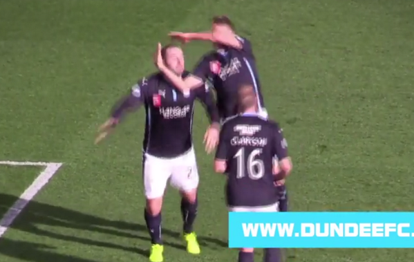 video  scottish soccer players celebrate a goal with a