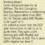 Another Achievement! #AAPeffect ACB called AAP mumbai to meet in Anti Corruption Week @AamAadmiParty http://t.co/S04xQZkJR9