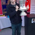 Me and the Conference North Trophy at the @telfordutd stall for the Southwater Opening in Telford! #backtothefuture http://t.co/i9OCo81UWt