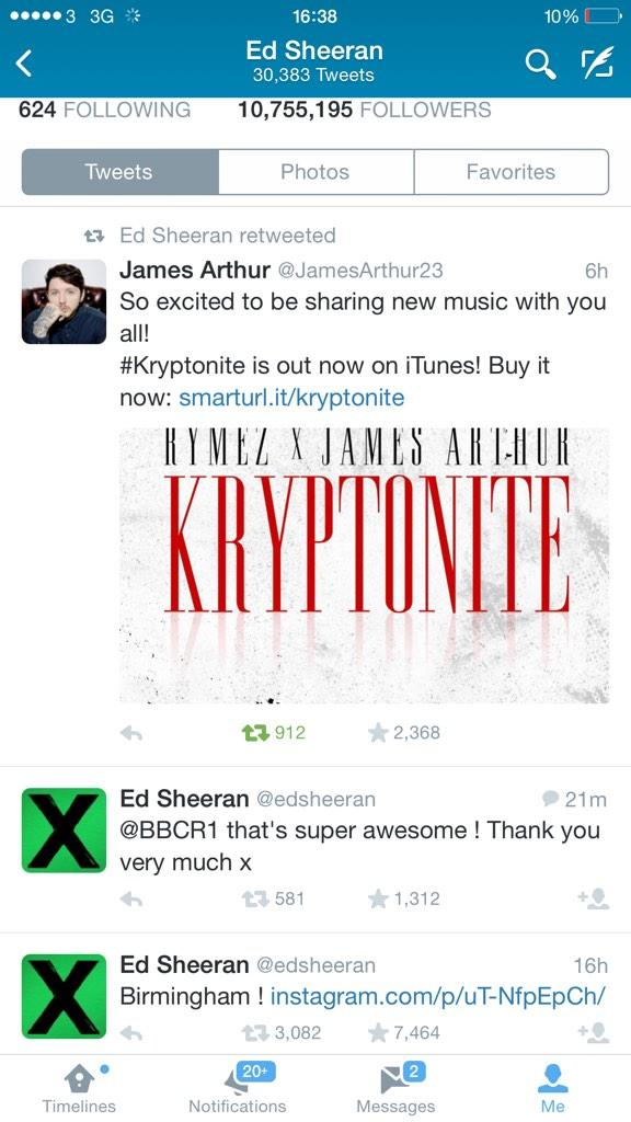 Wow OMG blessed to have @edsheeran recognise #kryptonite thank you sir   @jamesarthur23