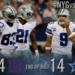 RT @dallascowboys: HALFTIME: Cowboys 14, Giants 14. #NYGvsDAL http://t.co/s8gbm131H4 http://t.co/WhEoqEEBHP
