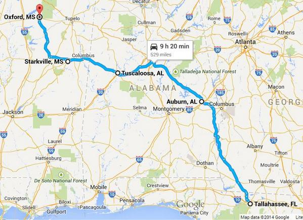 9 Hours to drive thru the AP Top 5. This is great RT @bmarcello: If you plan on taking a trip on Interstate Top 5: http://t.co/46H8PEax9k