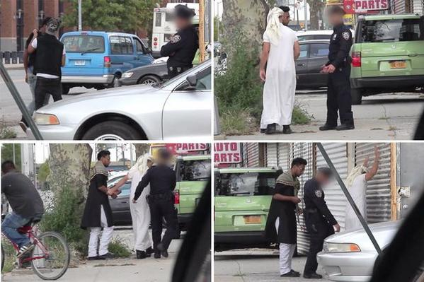 Watch police frisk man in Muslim dress moments after letting him walk past in Western clothes http://t.co/ONLMnw8loC http://t.co/v7AoqyOR2L