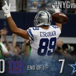 RT @dallascowboys: End of the 1st QTR: Cowboys 7, Giants 0. http://t.co/o8rA0vzNVM #NYGvsDAL http://t.co/pf33SsXqYN
