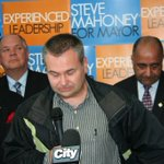 Mayoral candidates Stephen King, Kevin Jackal Johnston and Andrew Seitz support Mahoney at his rally today. #Misspoli http://t.co/AtSun8Hv0K
