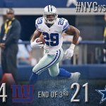 RT @dallascowboys: End of the 3rd QTR: Cowboys 21, Giants 14. #NYGvsDAL http://t.co/OfoyFZ0qJv
