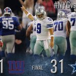 RT @dallascowboys: FINAL: Dallas Cowboys 31, New York Giants 21. #NYGvsDAL http://t.co/jB4ktnfNMW