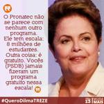 RT @dilmabr: O Pronatec não se parece com nenhum programa tucano. Ele tem escala: 8 milhões de estudantes. E é gratuito! http://t.co/zoAbbXW2Gr