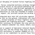 RT @ZekeJMiller: CENTCOM: U.S. Military Conducts Aerial Resupply of Kurdish Forces Fighting ISIL Near Kobani, Syria http://t.co/tawJJIub1B