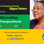 RT @RikhotsoTiyani: Please join Transport Minister @DipuoPeters for the #ANCLiveChat on #TransportMonth at 12:00 today. @MyANC_ http://t.co/d4lW07g6P4