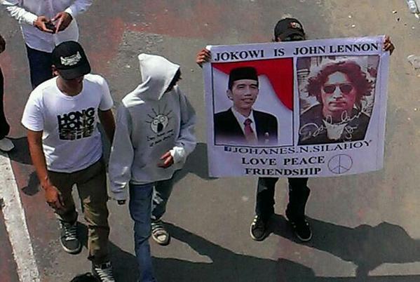 """""""Jokowi is John Lennon""""-strangest poster of the day (so far) http://t.co/xrptkEoPGU"""