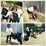 Relawan yg memungut sampah di sepanjang Sudirman-Thamrin selama kegiatan #syukuranrakyat berlangsung. @venadj http://t.co/bPYXB4lCn0