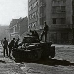 1944. A destroyed German tank (manufactured in France) on Karageorgievic Street in Belgrade http://t.co/XCzPy4IE5J