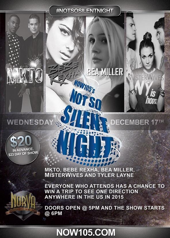 @WeAreMKTO  @BeaMiller  @BebeRexha @MisterWives  all going to be at #NotSoSilentNight  w @Now1053  info - http://t.co/5FwD4JuJbl