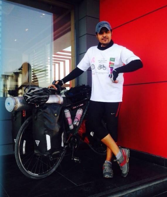 العمير يقطع 3 آلاف كيلومتر بدراجة للتوعية بسرطان الثدي http://t.co/pZJhv9ivdB #عُمان @my_bicycle_sa http://t.co/8nijJsYEnL