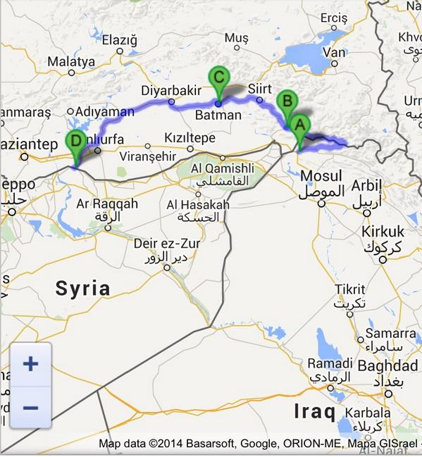 Map of one turkey passage for peshmerga iraq into kobane in