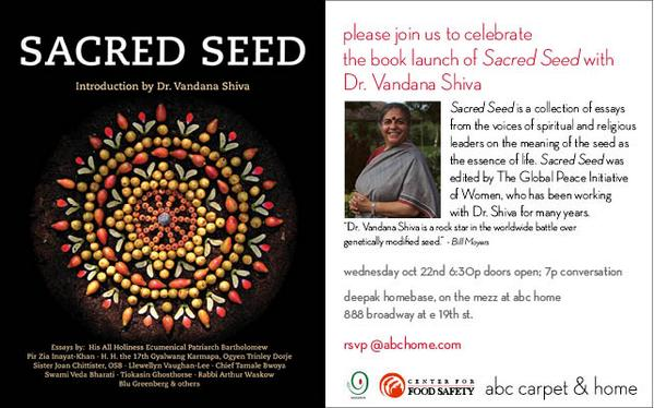 Join @drvandanashiva in #NYC at #abchome for the book launch of The Sacred Seed. Wed 10/22 at 6:30pm rsvp@abchome.com http://t.co/wJyQuNfnlD