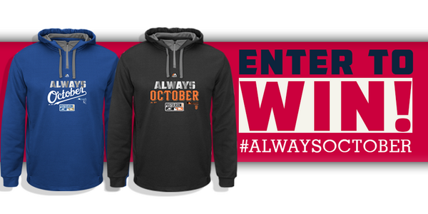 MLB Championship Giveaway: #win the #AlwaysOctober hoodie the pros wear. RT and FOLLOW to enter. Ends 10/24 #KCvsSF http://t.co/imqIgQCSn5