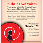 RT @Elbarriotours: Contextualizing the Puerto Rican Experience Through Oral History 10/22 5:30pm @ #East Harlem #Spanish Harlem #NYC http://t.co/JmpwrzphCL