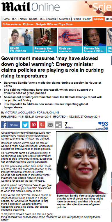 It's Official — Temperature 'Pause' Caused By Climate Policies?! Medieval witchcraft lives! UK Energy Minister: Government policies 'may have slowed down global warming'