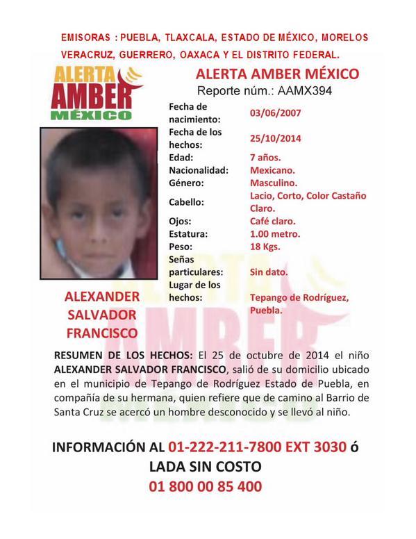 Si fueran tan amables, les pido nos ayuden a difundir la activación de #AlertaAmber por ALEXANDER SALVADOR FRANCISCO http://t.co/gkBLao2em6