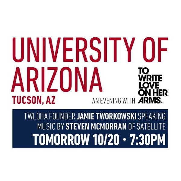 Sharing stories and tunes tomorrow at @UofA  with @jamietworkowski & @TWLOHA // 7:30pm open to all http://t.co/1cfOe231VF