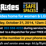 RT @SafeSpacesDC: Get A Free, Safe Ride Home on October 31: http://t.co/LfV5MUOrXW #DC #RightRidesDC http://t.co/o9HO0Dw2gD