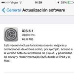 Y ya salió nueva actualización de iOS 8.1 Atenti #Iquique #Chile http://t.co/dRKBhnMYz1