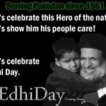RT @SohailAnwer: He gave golden years of his life to Pakistanis. Cant we give him one day? #DonateToEdhi and gear up for #EdhiDay! http://t.co/c6U9aylh3E
