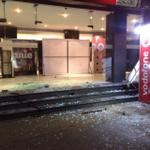 Chennai Satyam theater glass walls are damaged by unknown people. They thru fire balls all inside the theater. http://t.co/1oDKHC3Ru8