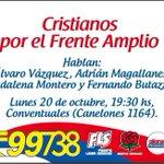 Cristianos por el @Frente_Amplio Hoy 19:30 en Conventuales @FLSuy @PDC808UY #99738 #3FA http://t.co/dbjP5d7fpb