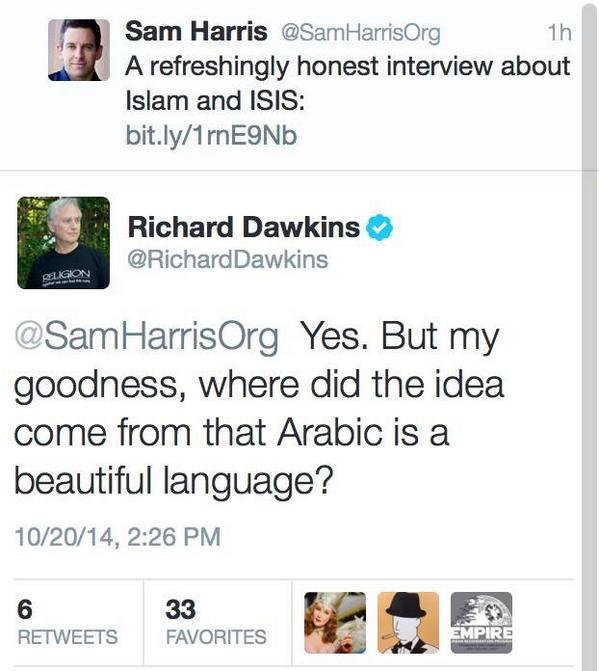 Dawkins tweeted, then deleted, some thoughts about Arabic: http://t.co/MiG95M5UuP
