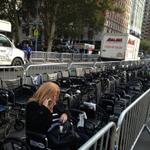 Protestors set up 100 wheelchairs in front of Lincoln center to protest Met Opera. http://t.co/Lc3s0e01BY