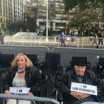 The scene outside Lincoln Center. These folks are upset about an opera. So theyre sitting in wheelchairs. http://t.co/K0qVwtoseM