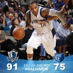 RT @dallasmavs: 3Q: Mavs lead Grizzlies 91-75. All starters are in double figures with Tyson & Monta leading with 14 pts. #DALvsMEM http://t.co/Ho1LwUbaYw