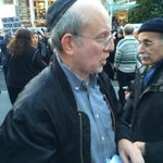 """Klinghoffer protester at Lincoln Ctr hands out fliers for """"free gun training."""" Flier reads """"wanted: Jews with guts"""" http://t.co/mnDmEcPVaO"""