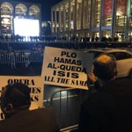 Protesters outside the @MetOpera demanding it cancel the opera, The Death of Klinghoffer. http://t.co/gXu8aNu1Vo