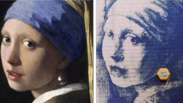 """New #Banksy is a reimagining of Dutch painter #Vermeer's """"Girl with a Pearl Earring"""" http://t.co/sO4yRgisSz http://t.co/7bz0vAdPcW"""