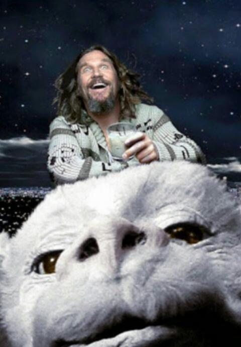 "In the words of Monty Python ""And now for something completely different"" > Jeff Bridges riding Falcor! #yourewelcome http://t.co/dz11pnXT7j"